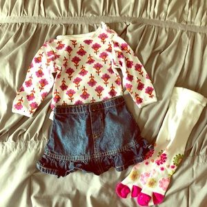 Girls 3 piece outfit with Floral tights super cute